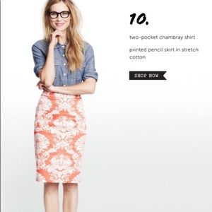 J.Crew Factory Coral Damask Pencil Skirt